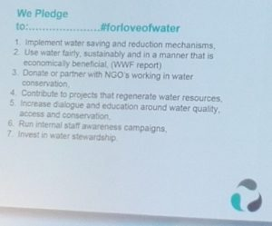 For Love of Water pledge
