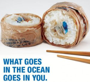 Plastic sushi from Surfrider foundation