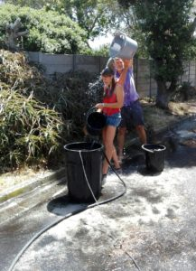 2018 GAIA street shower with water from pipe burst in Cape Town drought
